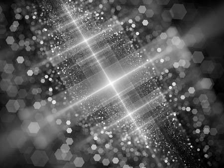 intensity: New technology starburst with particles in space, black and white, computer generated intensity map for screen or overlay