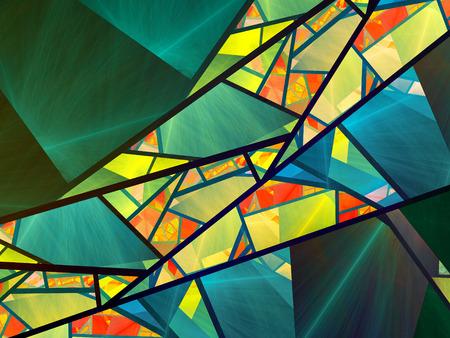カラフルなステンド グラスのフラクタル、コンピューター生成された抽象的な背景