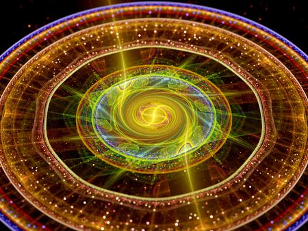 Kleurrijke gloeiende teleport cirkels in de ruimte fractal met deeltjes, computer gegenereerde abstracte achtergrond Stockfoto