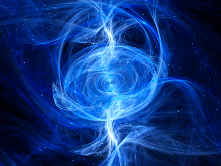Blue glowing anomaly in space fractal, computer generated abstract background Stock Photo