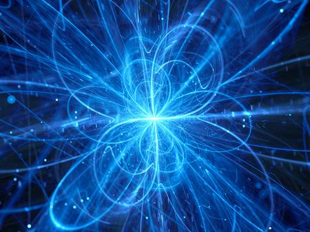 Blau leuchtende chaotischen Kurven im Raum, Quantentheorie, Computer generierte abstrakte Hintergrund Standard-Bild - 62455447