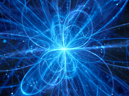 Blue glowing chaotic curves in space, quantum theory, computer generated abstract background