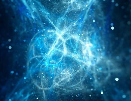 Blue glowing high power plasma with particles, depth of field, computer generated abstract background Stock Photo