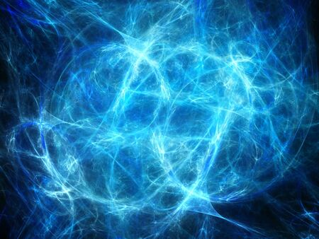 high voltage: Blue glowing high power plasma in deep space, matter and antimatter, computer generated abstract background