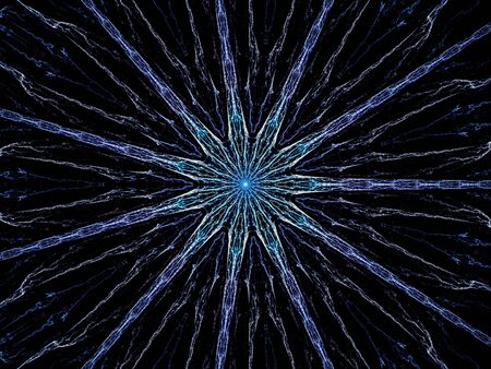 hub computer: Blue glowing hub fractal, network technology, computer generated abstract background