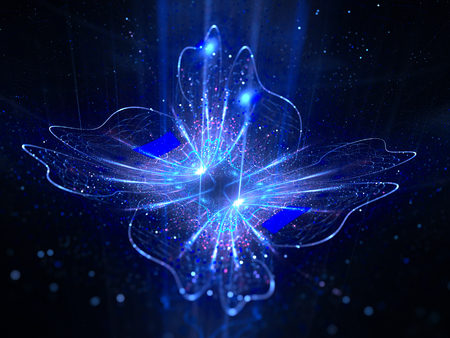 Azul brillante flor mágica en el espacio, generado por ordenador resumen de antecedentes