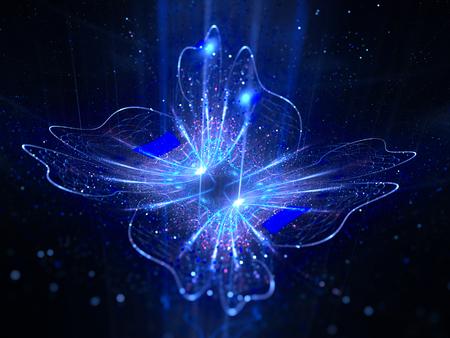 Blauwe gloeiende magische bloem in de ruimte, computer gegenereerde abstracte achtergrond