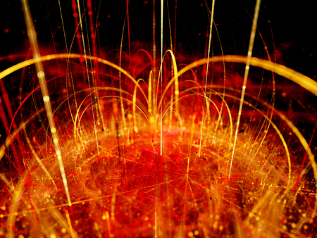 magnetic field: Fiery magnetic force field with magnetization lines, computer generated abstract background