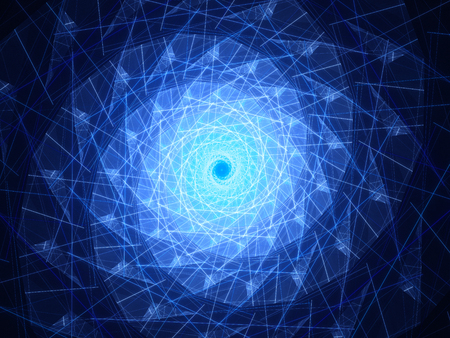 metaphysical: Blue glowing spiral surface with lines, computer generated abstract background
