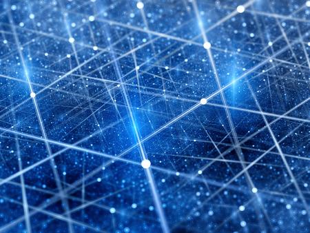 Blauwe gloeiende verbindingen in de ruimte met deeltjes, big data, computer gegenereerde abstracte achtergrond Stockfoto