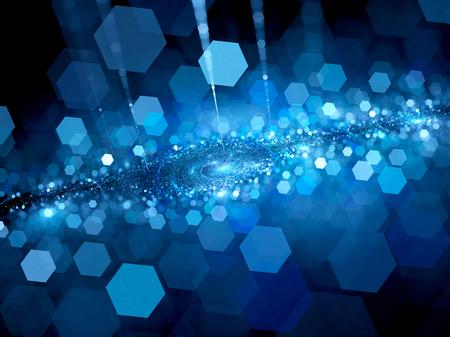 tiefe: Deep blue Raum mit geringer Tiefenschärfe, Bokeh, Computer generierte abstrakte Hintergrund, 3D-Darstellung