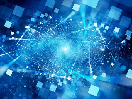 tiefe: Blau leuchtende Verbindungen im Raum mit Teilchen, große Daten, Computer generierte abstrakte Hintergrund, 3D-Darstellung
