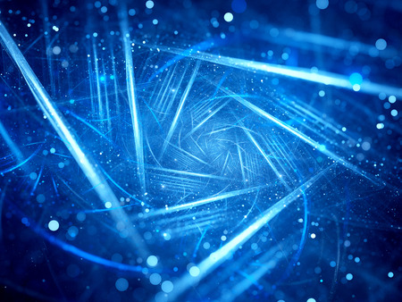 blue design: Blue glowing lines with particles spiral in space, computer generated abstract background, 3D render Stock Photo