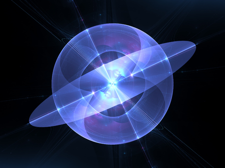 Blue and purple glowing quantum fractal, computer generated abstract background, 3D render