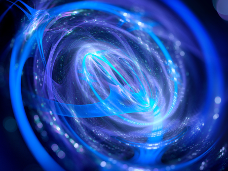 Glowing spinning futuristic technology spiral in space, computer generated abstract background, 3D render Stock Photo