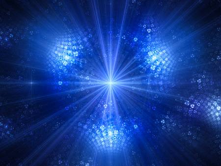 futurist: Blue glowing light source in space, computer generated abstract background, 3D render
