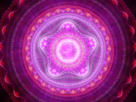 Pink glowing mandala fractal, computer generated abstract background, 3D render
