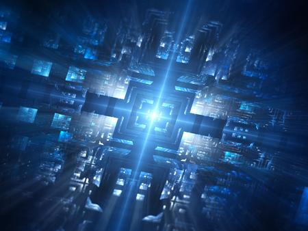미래의 블루 빛나는 하드웨어 네트워크, 컴퓨터는 3D 렌더링, 추상적 인 배경 스톡 콘텐츠