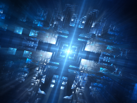 Futuristic blue glowing hardware network, computer generated abstract background, 3D render