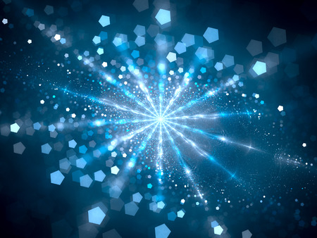 Blue glowing hub in space with particles, computer generated abstract background, 3D render Archivio Fotografico