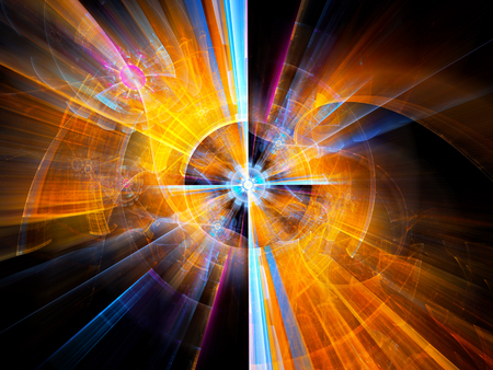 Colorful futuristic machine fractal, computer generated abstract background, 3D rendering Stock Photo