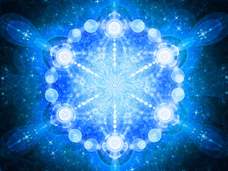 Blue glowing space mandala, computer generated abstract background, 3D rendering