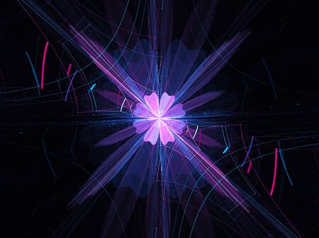 Colorful glowing spiritual energy in space, new technology, computer generated abstract background, 3D render Stock Photo