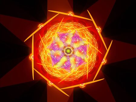 Colorful fiery magical mandala in space, computer generated abstract background, 3D render