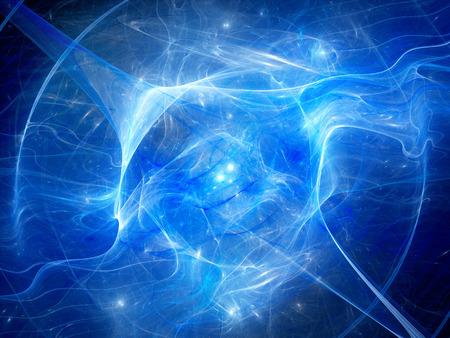 空間における高エネルギー プラズマ フィールドで輝く星雲は青、コンピューター生成された抽象的な背景、3 D のレンダリング 写真素材