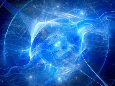 Blue glowing nebula with high energy plasma field in space, computer generated abstract background, 3D render