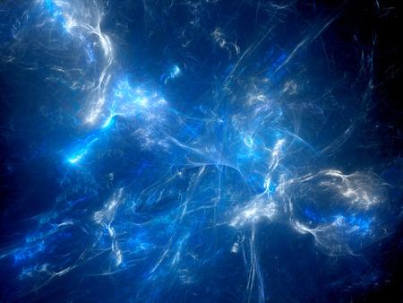 Genèse brillante bleue dans l'espace, fond abstrait généré par ordinateur, rendu 3D