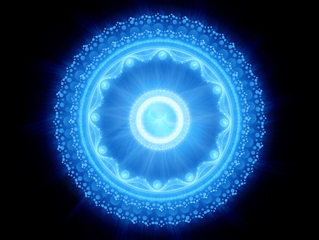 Blue glowing magical stargate or space mandala, computer generated abstract background, 3D render