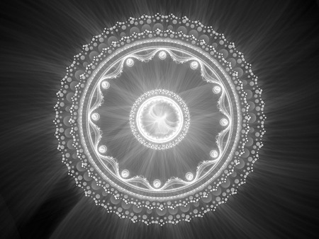 Glowing stargate or magical mystery mandala in space, computer generated abstract intensity map, 3D render