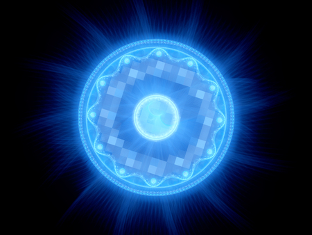 Blue glowing magical gate in space, computer generated abstract background, 3D render