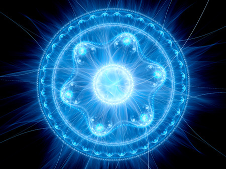 Magical crazy blue glowing mandala, computer generated abstract background, 3D render Stock Photo