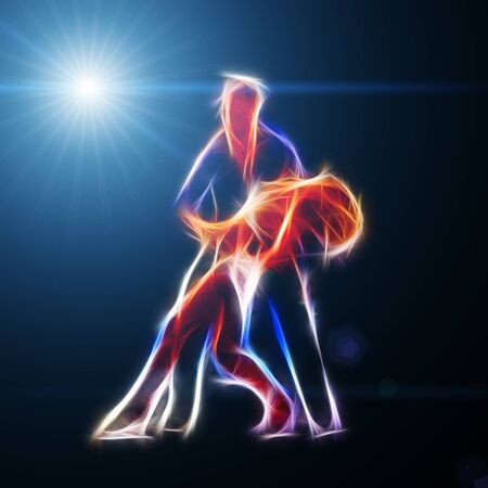 night dress: Fiery couple dancing in light illustration, computer generated abstract background, 3d render