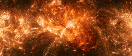 fiery: Colorful orange space mystery widescreen format, computer generated abstract background, 3D render