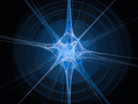 Blue glowing neuron fractal, computer generated abstract background, 3D render