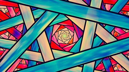 stained glass church: Colorful stained glass fractal, teal and orange cinematic style, computer generated abstract background, 3D render Stock Photo