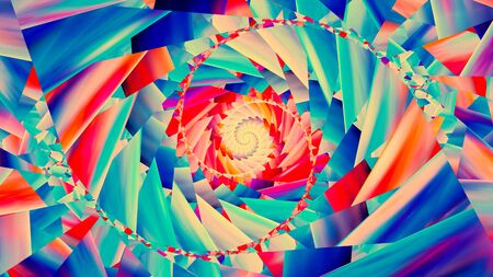 stained glass church: Colorful trendy spiral, computer generated abstract background, 3D render