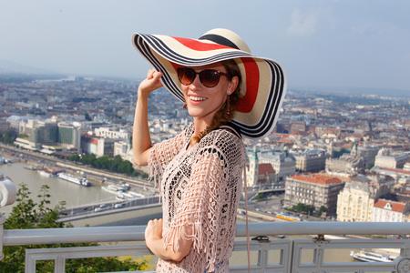 sightsee: Young woman enjoying Budapest panorama, Hungary
