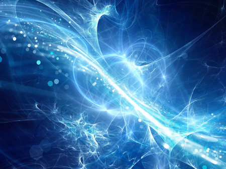 Blue glowing plasma curves in space with particles, computer generated abstract background, 3D rendering Stock Photo