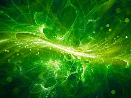 Green glowing high energy plasma field in space with particles, computer generated abstract background Stock Photo