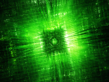 Green glowing hardware component fractal, computer generated abstract background, 3D rendering