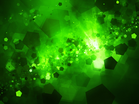 Green glowing nebula in deep space with pentagon particles, computer generated abstract background, 3D rendering