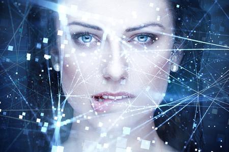 연결 물린 입술 초상화 섹시 한 여자 인공 지능
