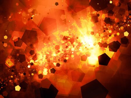 cold fusion: Fiery glowing nebula in deep space with pentagon particles, computer generated abstract background, 3D rendering Stock Photo