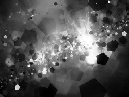 cold fusion: Nebula in space with pentagon particles black and white, computer generated abstract background, 3D rendering