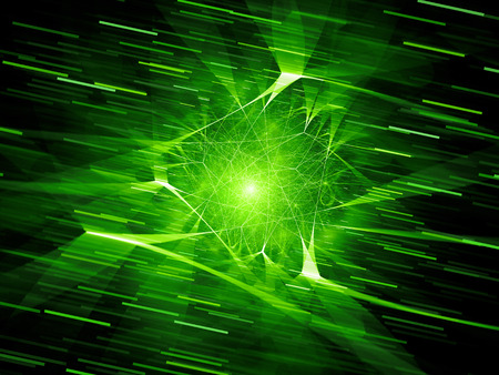 Green glowing futuristic network connections in space with motion lines, computer generated abstract background, 3D rendering Stock Photo