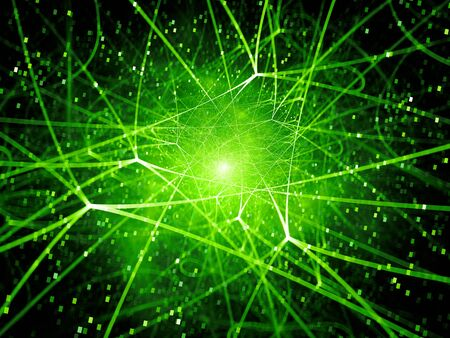Green glowing network connections in space, computer generated abstract background, 3D rendering